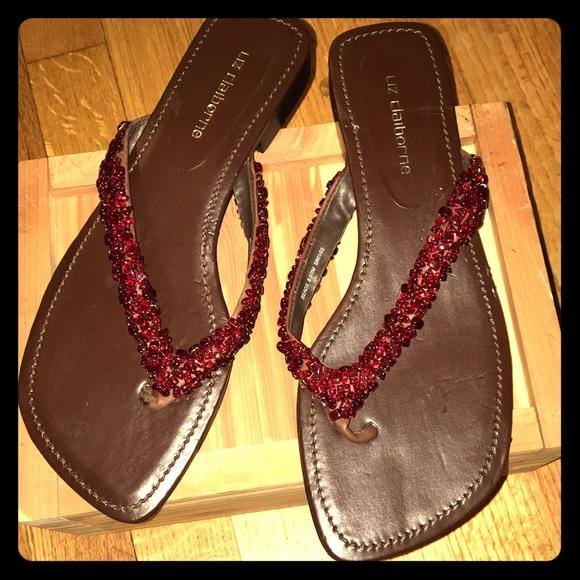 7453c027675c2 Liz Claiborne Ruby Colored Stone Flip Flops